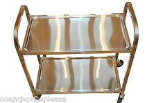 Professional 2 Tier Stainless Steel Catering Restaurant Serving Trolley - LARGE