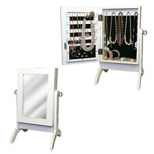 Jewelry Cabinet Armoire White Dressing Tabletop Mirror Bedroom Storage Organiser