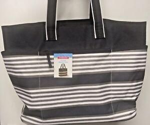 """XL - Summer Beach Shopping Bag- Black White Striped Tote Bag 20"""" x 9"""" x 15"""" NEW"""