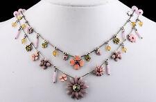 PILGRIM Jewelry DAISY Flower Swarovski Crystals Enamel CHARMS Silver NECKLACE