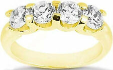 "2.41 ct 4 Round Diamond Wedding ""U""shape Band Anniversary 18k Yellow Gold Ring"