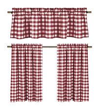 "Wine & White 3 Piece Cotton Rich Small Kitchen Window Set: Gingham 24"" Tiers"