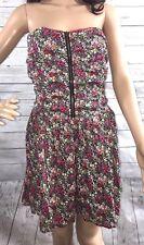 I Love H81 Strapless Sundress Large Smocked Elastic Floral Print SummerDress