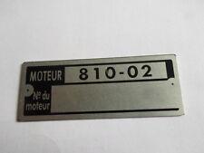 Typenschild Renault Motor-Schild IDplate moteur 810-02 plaque  s12