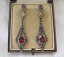 Stylish Deco Inspired Garnet CZ & Marcasite Silver Drop Earrings