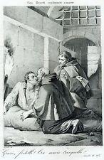 Ciro Menotti condannato a morte. Risorgimento. Stampa Antica + Passepartout.1863