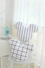 More details for mickey pillow stuffed white check stripe cushion edition 2022 minnie mouse