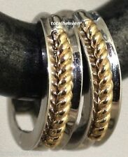 14mm Solid 14K White & Yellow Gold Huggies Hoop Earrings 2.2gr Two Tone STYLISH