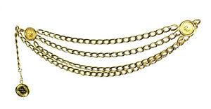 CHANEL Vintage Gold Metal Curb Chain Logo Coin Detail Triple Layer Belt