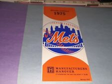 1975 New York Mets Baseball Official Schedule Manufacturers Hanover