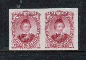 Newfoundland #32TCiii Extra Fine Proof Pair In Purple Red On India Paper