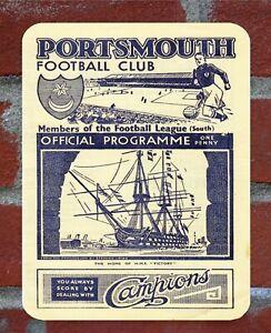 Vintage Tin Sign Portsmouth 1930s  Programme Metal Sign.