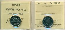 2011 Canada 5 Cent Certified ICCS MS-65