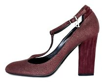 Christian DIOR Burgundy Leather Ankle Strap Heel Pump Shoes 7.5 M