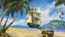 PIRATE SHIP PREPASTED WALLPAPER MURAL Pirates Room Decor Wall Decorations