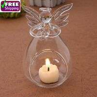 Guardian Angel Candle Holder Christmas Candlestick Glass Crystal Tea Light Decor