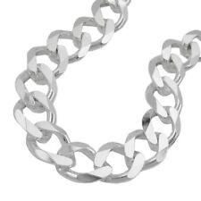 11 mm breite Herren Panzerkette 925er echt Silber 55 cm Halskette diamantiert