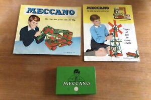 2 1960's Meccano Leaflets And Green Meccano Tin