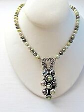 Sterling Silver NECKLACE with Gray Fresh Water Pearls HUGE Pendant
