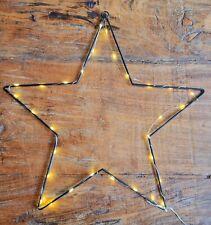 Metallstern 30LEDs Timer 40cm Leuchtstern Fensterbild Schwarz Weihnachten Deko