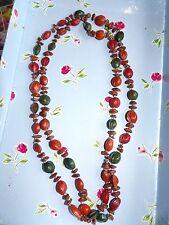 LONG singolo trefolo di rosso, marrone e verde semi fabbrica COLLANA 489-8