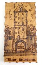 Vintage Folk Art Souvenir Mainz Germany Eisenturm Tower Pyrography Woodburning