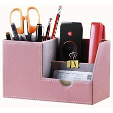 Leather Desk Organizer Office Supplies Caddy With Pen Pencil Holder And Storage