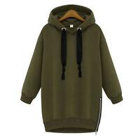 Women Oversized Hoodies Hoody Zip Casual Jacket Coat Sweater Long Sweatshirt Top
