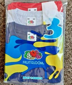 Boys short sleeved T-Shirts age 3-4 Blue Grey Red solid colour cotton 3 pack