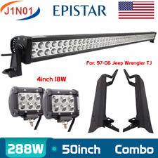 """50"""" 288W+2X 18W Spot LED Jeep Light Bar+Mounting Brackets Jeep Wrangler TJ 97~06"""