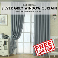 Sunlight Blackout Room Darkening Curtains 2 Panel Set - Silver Grey Size XS