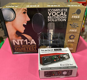 Rode NT1-A Studio Microphone kit with shock mount and popshield + Scarlett Solo