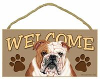 "Bull Dog 10"" x 5"" Wooden Welcome Dog Sign New!"