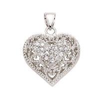 argento sterling platino placcato 20mm cuore ciondolo con filigrana