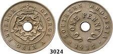 PegasusAuctions_com: 3024. Southern Rhodesia, George V, Penny 1935, RARE