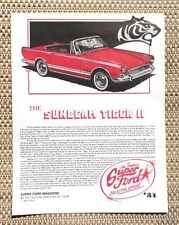 SUNBEAM TIGER MK II FORD 289 V8 ROOTES SHELBY CAR LITERATURE FACT SHEET 34