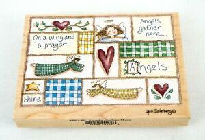 Angels Gather Here 90139 Wood Mounted Rubber Stamp Stamps Happen 5.5 inch x 4 in