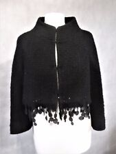 Pure wool boucle SCANLAN & THEODORE cropped black trimmed jacket UK 12