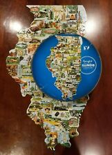 Vtg 1969 Springbok State Map of Illinois  Contour Jigsaw  Puzzle -complete HTF