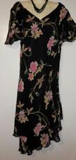 Donna Ricco Womens Dress 22P 24P Black Mauve Floral Lined Asymmetrical Knee E278