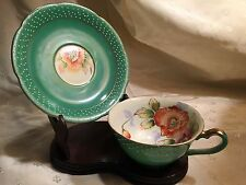 "Vintage Green Polka Dot Cup & Saucer w Flower Pattern Hand Painted ""Merit"""