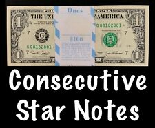 2003 Chicago 1$ Consecutive Star Notes BEP Strap Replacement Notes UNC G3