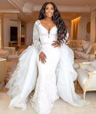 Detachable Train Lace Appliques Wedding Dress Mermaid White/Ivory Bridal Gown
