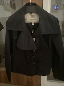 Burberry Ladies  pea coat Size 8/10 New With Tags Black