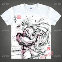 Anime Inuyasha Casual Tee T-shirt Short Sleeve Unisex Tops Ink Print White