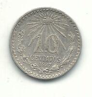 A VINTAGE XF/AU 1927 MEXICO SILVER 10 CENTAVOS-APR192