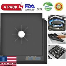 4PCS Reusable Gas Range Stove Top Burner Protector Liner Cover For Cleaning FDA