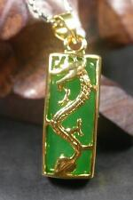 Gold Plate CHINESE Icy Green JADE Pendant Dragon Rectangle Necklace 263314