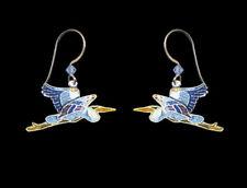 GREAT BLUE HERON Cloisonne EARRINGS by Bamboo Jewelry STERLING SILVER Bird Box