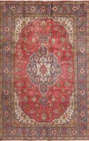 Excellent Geometric Red Tebriz Area Rug Wool Hand-made Living Room Carpet 6'x10'